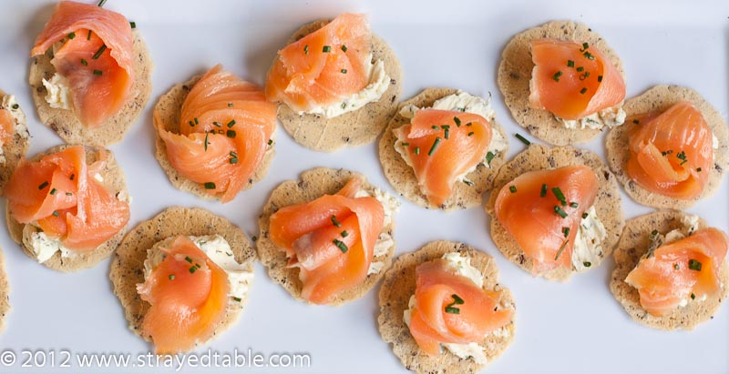 Salmon canapes recipe strayed from the table for Canape examples