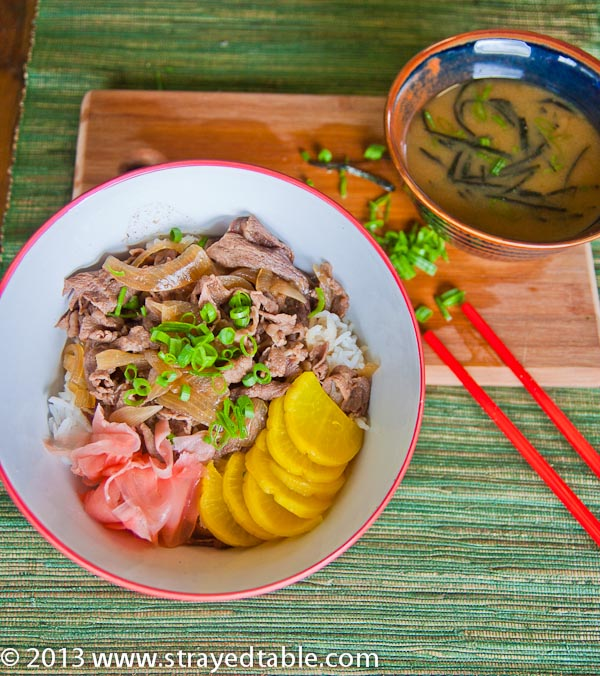Gyudon Recipe, (Beef Rice Bowl Recipe) - Strayed from the Table