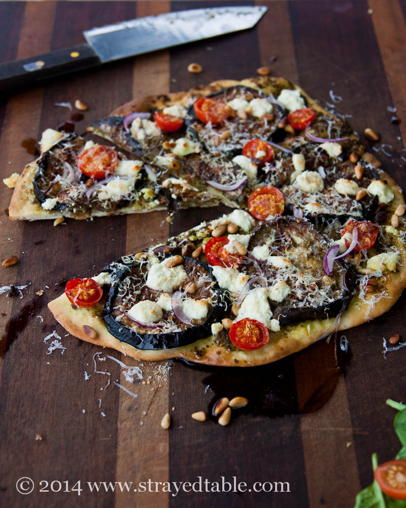 Eggplant & Goat Feta Pizza Recipe @ Strayed from the Table
