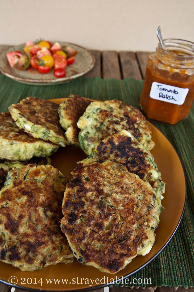 Zucchini & Feta Fritters Recipe @ Strayed from the Table