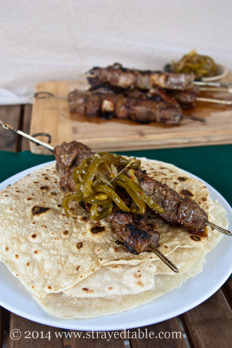 Beef Skewers with Green Chili Jam Recipe @ Strayed from the Table