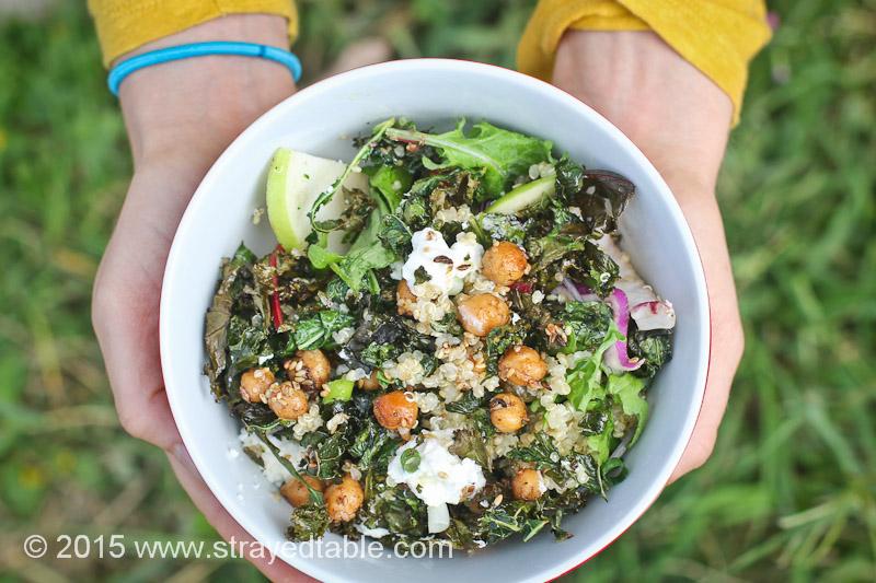 Crispy Kale & Chickpea Salad
