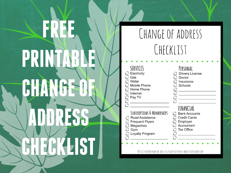 Change of Address Checklist Strayed from the Table – Free Change of Address