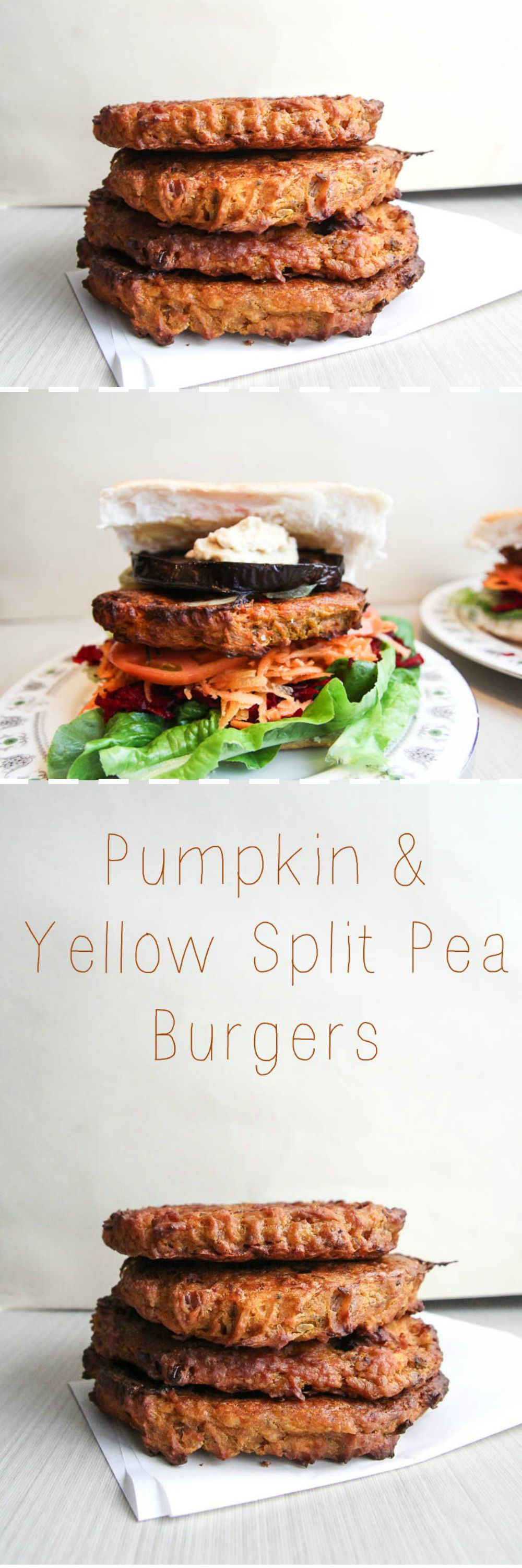 Roasted Pumpkin Yellow Split Pea Burgers